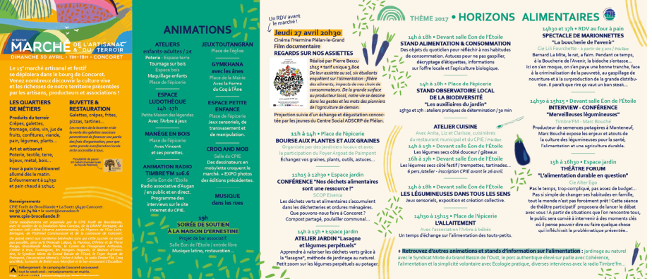 Marché Terroir et Artisanat 2017 CPIE Forêt de Brocéliande Programme